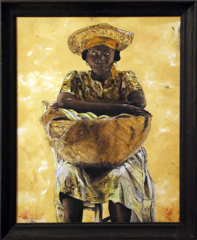 Haitian woman with bananas