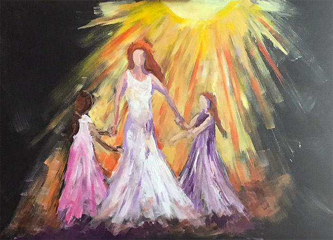 Mother and Daughters in Joy